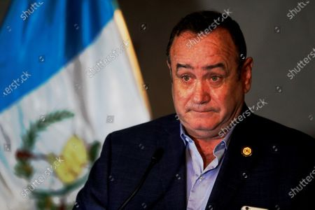 The President-elect of Guatemala Alejandro Giammattei holds a press conference, prior to the investiture rehearsal, at the National Theater of Guatemala, Guatemala, 13 January 2020. Giammattei criticized the management of the Government of his predecessor Jimmy Morales.