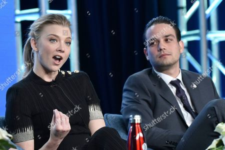 """Natalie Dormer, Daniel Zovatto. Natalie Dormer, left, and Daniel Zovatto participate in The Showtime """"Penny Dreadful: City of Angels"""" panel during the Winter 2020 Television Critics Association Press Tour, in Pasadena, Calif"""