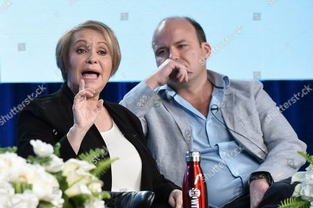 "Adriana Barraza, Rory Kinnear. Adriana Barraza, left, and Rory Kinnear participate in The Showtime ""Penny Dreadful: City of Angels"" panel during the Winter 2020 Television Critics Association Press Tour, in Pasadena, Calif"