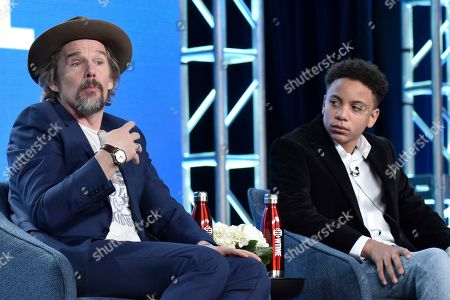 """Ethan Hawke, Ethan, Joshua Caleb Johnson. Ethan Hawke, left, and Joshua Caleb Johnson participate in the Showtime """"The Good Lord Bird"""" panel during the Winter 2020 Television Critics Association Press Tour, in Pasadena, Calif"""