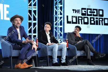 """Ethan Hawke, Ethan, Joshua Caleb Johnson, James McBride. Ethan Hawke, from left, Joshua Caleb Johnson and James McBride participate in the Showtime """"The Good Lord Bird"""" panel during the Winter 2020 Television Critics Association Press Tour, in Pasadena, Calif"""