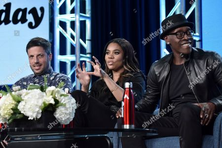 "Stock Picture of David Caspe, Regina Hall, Don Cheadle. David Caspe, from left, Regina Hall and Don Cheadle participate in the Showtime ""Black Monday"" panel during the Winter 2020 Television Critics Association Press Tour, in Pasadena, Calif"
