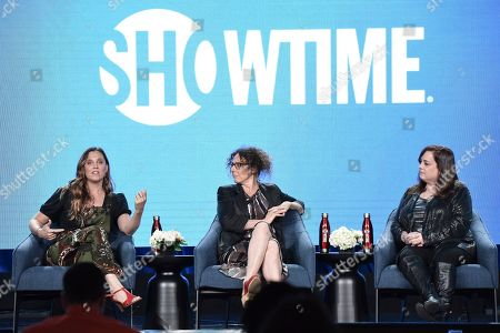 """Stock Photo of Heidi Ewing, Rachel Grady, Tracy. Heidi Ewing, from left, Rachel Grady and Tracy participate in the Showtime """"Love Fraud,"""" panel during the Winter 2020 Television Critics Association Press Tour, in Pasadena, Calif"""