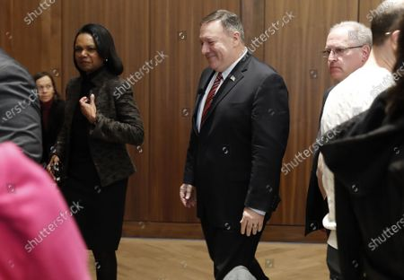 Former United States Secretary of State Condoleezza Rice (L) and United States Secretary of State Mike Pompeo (R) depart after Pompeo spoke during an event hosted by the Hoover Institution at Stanford University in Stanford, California, USA, 13 January 2020.