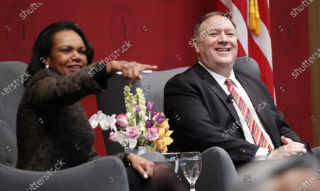 Former United States Secretary of State Condoleezza Rice (L) and United States Secretary of State Mike Pompeo (R) answer questions during an event hosted by the Hoover Institution at Stanford University in Stanford, California, USA, 13 January 2020.