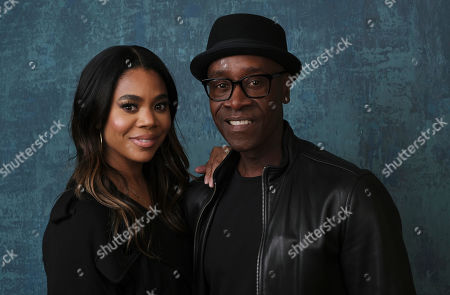 """Don Cheadle, Regina Hall. Regina Hall, left, and Don Cheadle, cast members in the Showtime series """"Black Monday,"""" pose together for a portrait during the 2020 Showtime Winter Television Critics Association Press Tour, in Pasadena, Calif"""