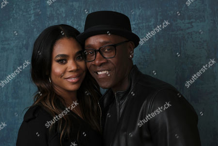 """Don Cheadle, Regina Hall. Regina Hall, left, and Don Cheadle, a cast members in the Showtime series """"Black Monday,"""" pose together for a portrait during the 2020 Showtime Winter Television Critics Association Press Tour, in Pasadena, Calif"""
