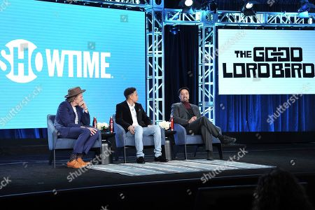 """Stock Picture of Ethan Hawke, Ethan, Joshua Caleb Johnson, James McBride. Ethan Hawke, from left, Joshua Caleb Johnson and James McBride participate in the Showtime """"The Good Lord Bird"""" panel during the Winter 2020 Television Critics Association Press Tour, in Pasadena, Calif"""