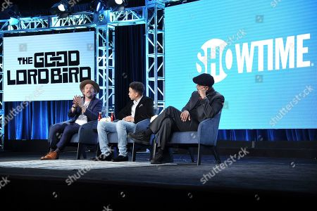 """Stock Image of Ethan Hawke, Ethan, Joshua Caleb Johnson, James McBride. Ethan Hawke, from left, Joshua Caleb Johnson and James McBride participate in the Showtime """"The Good Lord Bird"""" panel during the Winter 2020 Television Critics Association Press Tour, in Pasadena, Calif"""