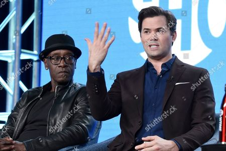 "Don Cheadle, Andrew Rannells. Don Cheadle, left, and Andrew Rannells participate in the Showtime ""Black Monday"" panel during the Winter 2020 Television Critics Association Press Tour, in Pasadena, Calif"