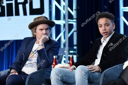 """Stock Image of Ethan Hawke, Ethan, Joshua Caleb Johnson. Ethan Hawke, left, and Joshua Caleb Johnson participate in the Showtime """"The Good Lord Bird"""" panel during the Winter 2020 Television Critics Association Press Tour, in Pasadena, Calif"""