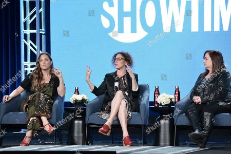 """Heidi Ewing, Rachel Grady, Tracy. Heidi Ewing, from left, Rachel Grady and Tracy participate in the Showtime """"Love Fraud"""" panel during the Winter 2020 Television Critics Association Press Tour, in Pasadena, Calif"""
