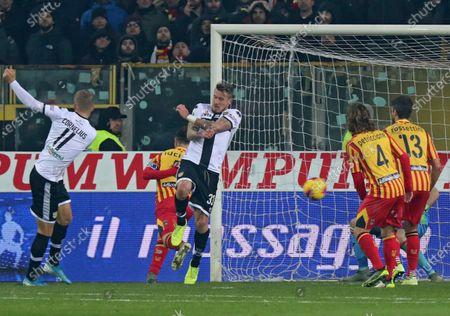 Parma's Andreas Cornelius (L) scores the 2-0 goal during the Italian Serie A soccer match Parma Calcio vs US Lecce in Parma, Italy, 13 January 2020.