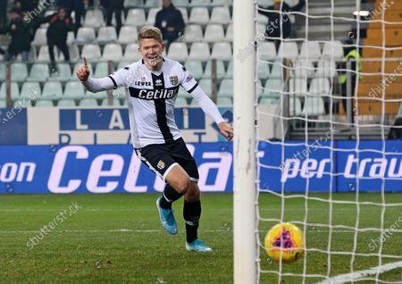 Parma's Andreas Cornelius celebrates scoring the 2-0 goal during the Italian Serie A soccer match Parma Calcio vs US Lecce in Parma, Italy, 13 January 2020.