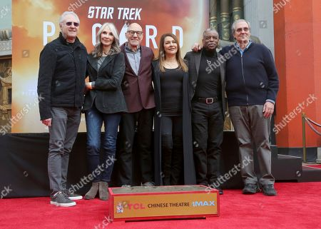 Brent Spiner, Gates McFadden, Sir Patrick Stewart, Marina Sirtis, Levar Burton, Rick Berman. Brent Spiner, from left, Gates McFadden, Sir Patrick Stewart, Marina Sirtis, Levar Burton and Rick Berman attend the ceremony honoring Sir Patrick Stewart with the hand and footprints in cement at the TCL Chinese Theatre, in Los Angeles