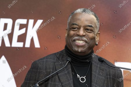 Levar Burton delivers a speech prior to Sir Patrick Stewart's hands and footprints ceremony at the Chinese Theater in Hollywood, California, USA, 13 January 2020.
