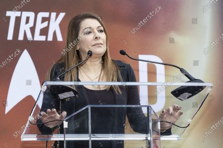 Marina Sirtis delivers a speech prior to Sir Patrick Stewart's hands and footprints ceremony at the Chinese Theater in Hollywood, California, USA, 13 January 2020.