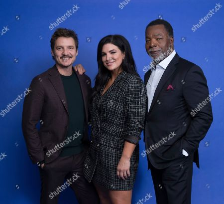 "Pedro Pascal, Gina Carano, Carl Weathers. In this Oct. 19. 2019 photo, Pedro Pascal, from left, Gina Carano and Carl Weathers pose at the Disney + launch event promoting ""The Mandalorian"" at the London West Hollywood hotel in West Hollywood, Calif"