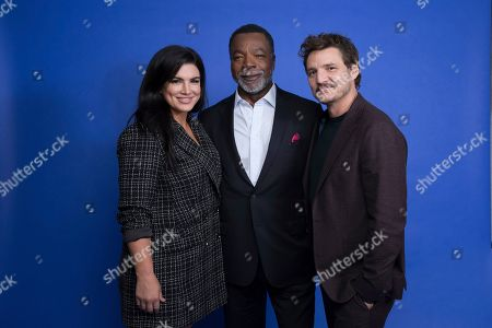 "Gina Carano, Carl Weathers, Pedro Pascal. In this Oct. 19. 2019 photo, Gina Carano, from left, Carl Weathers and Pedro Pascal pose at the Disney + launch event promoting ""The Mandalorian"" at the London West Hollywood hotel in West Hollywood, Calif"