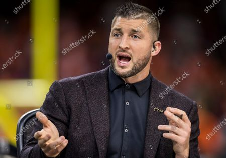 ESPN analyst Tim Tebow during pregame of College Football Playoff National Championship game action between the Clemson Tigers and the LSU Tigers at Mercedes-Benz Superdome in New Orleans, Louisiana. LSU defeated Clemson 42-25