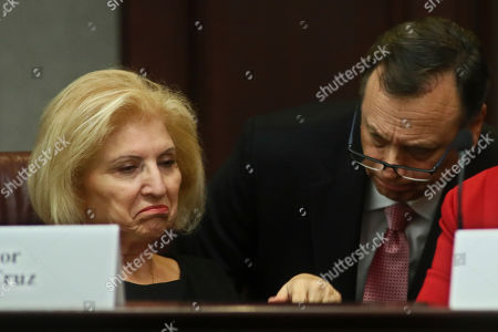 Sen. Janet Cruz, D-Tampa, left, and Sen. Tom Lee, R-Brandon, discuss a bill involving white nationalists and white supremacists, during a Senate Infrastructure and Security Committee meeting at the Capitol in Tallahassee, Fla