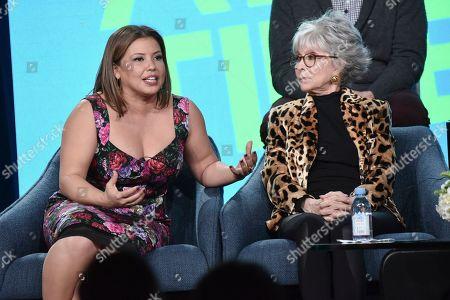 "Justina Machado, Rita Moreno. Justina Machado, left, and Rita Moreno participate in the Pop TV ""One Day at a Time"" panel during the Winter 2020 Television Critics Association Press Tour, in Pasadena, Calif"