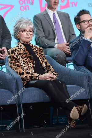"""Rita Moreno participates in the Pop TV """"One Day at a Time"""" panel during the Winter 2020 Television Critics Association Press Tour, in Pasadena, Calif"""