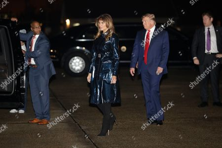 Donald Trump Melania Trump. President Donald Trump and first lady Melania Trump arrive at Louis Armstrong New Orleans International airport to attend the NCAA College Football Playoff national championship game championship game between LSU and Clemson, in Kenner, La