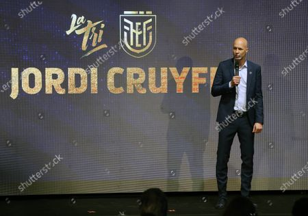 Spanish-Dutchman Jordi Cruyff speaks during his official presentation as the new coach of the Ecuadorian team in Quito, Ecuador, 13 January 2020. Cruyff will be coaching the Ecuadorian national team for a period of three years, as part of a comprehensive renovation project for the Ecuadorian Football Federation (FEF).
