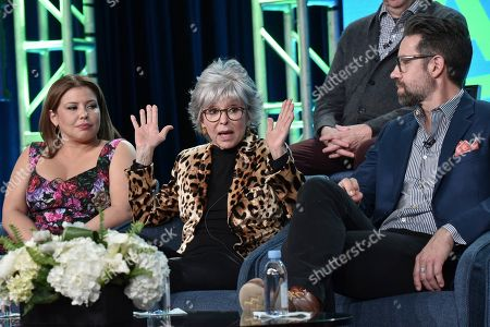 """Stock Picture of Justina Machado, Rita Moreno, Todd Grinnell. Justina Machado, from left, Rita Moreno and Todd Grinnell participate in the Pop TV """"One Day at a Time,"""" panel during the Winter 2020 Television Critics Association Press Tour, in Pasadena, Calif"""