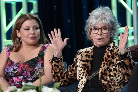 "Stock Image of Justina Machado, Rita Moreno. Justina Machado, left, and Rita Moreno participate in the Pop TV ""One Day at a Time,"" panel during the Winter 2020 Television Critics Association Press Tour, in Pasadena, Calif"