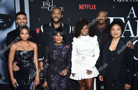 "Matthew Law, Bresha Webb, Tyler Perry, Cicely Tyson, Crystal Fox, Mehcad Brooks, Phylicia Rashad. Actors Matthew Law, left, Bresha Webb, Tyler Perry, Cicely Tyson, Crystal Fox, Mehcad Brooks and Phylicia Rashad attend the premiere of Tyler Perry's ""A Fall from Grace,"" at Metrograph, in New York"