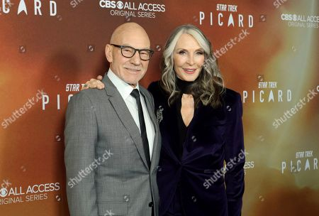 """Sir Patrick Stewart, left, and Star Trek cast mate Gates McFadden attend the LA Premiere of """"Star Trek: Picard,"""" at the ArcLight Hollywood, in Los Angeles"""
