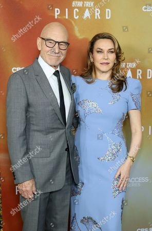 """Patrick Stewart, Sunny Ozell. Sir Patrick Stewart, left, and his wife Sunny Ozell attend the LA Premiere of """"Star Trek: Picard"""" at the ArcLight Hollywood, in Los Angeles"""