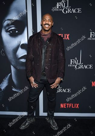 """Mehcad Brooks attends the premiere of Tyler Perry's """"A Fall from Grace"""" at Metrograph, in New York"""