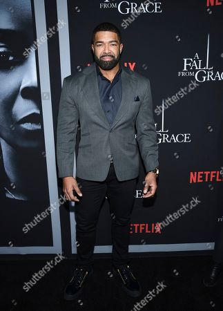 """David Otunga attends the premiere of Tyler Perry's """"A Fall from Grace"""" at Metrograph, in New York"""