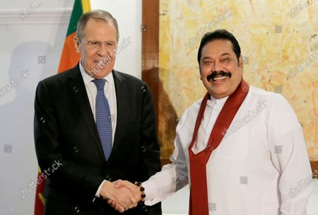 Sri Lankan Prime Minister Mahinda Rajapaksa (R) shakes hands with Russian Foreign Minister Sergei Lavrov (L) during their meeting in Colombo, Sri Lanka, 14 January 2020. Lavrov is in Sri Lanka on a two-day official visit.