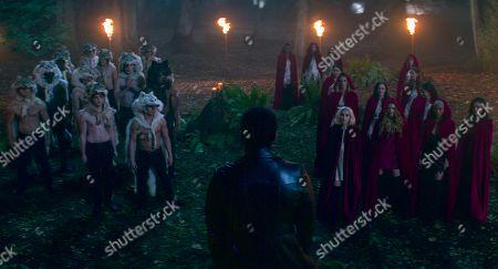 Gavin Leatherwood as Nicholas Scratch, Kiernan Shipka as Sabrina Spellman, Abigail Cowen as Dorcas, Tati Gabrielle as Prudence Night and Adeline Rudolph as Agatha