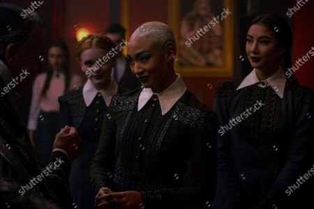 Stock Image of Ray Wise as Enoch, Abigail Cowen as Dorcas, Tati Gabrielle as Prudence Night and Adeline Rudolph as Agatha
