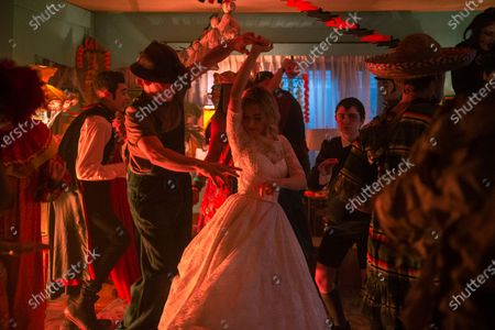 Ross Lynch as Harvey Kinkle, Kiernan Shipka as Sabrina Spellman and Lachlan Watson as Susie Putnam/Theo Putnam