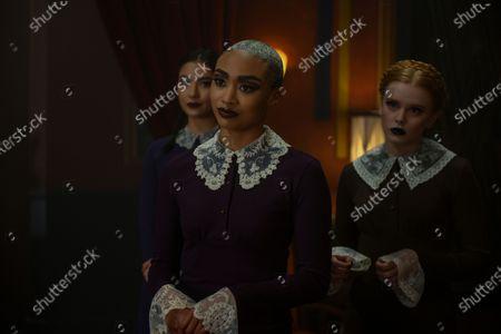 Adeline Rudolph as Agatha, Tati Gabrielle as Prudence Night and Abigail Cowen as Dorcas