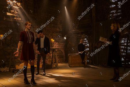 Stock Picture of Abigail Cowen as Dorcas, Gavin Leatherwood as Nicholas Scratch, Kiernan Shipka as Sabrina Spellman and Miranda Otto as Zelda Spellman
