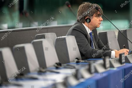 Stock Image of Former member of the Catalan government Carles Puigdemont listens to a presentation of the programme of activities of the Croatian Presidency at the European Parliament in Strasbourg, France, 14 January 2020.