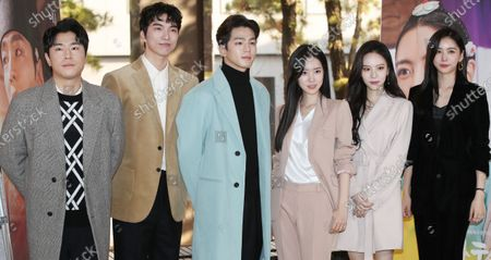 Cast members of cable channel TV Chosun's new drama 'The War Between Women',  Lee Si-un, Do Sang-woo, Kim Min-kyu, Jin Se-yun, Lee Yeol-eum and Lee Hwa-kyum pose for a photo during a press call at an art center in Seoul, South Korea, 14 January 2020.