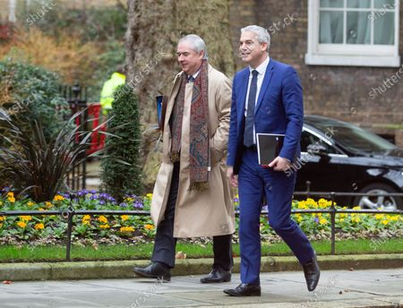Geoffrey Cox (Left), Attorney General, arrives for the Cabinet meeting in Downing Street with Stephen Barclay,, Secretary of State for Exiting the European Union.