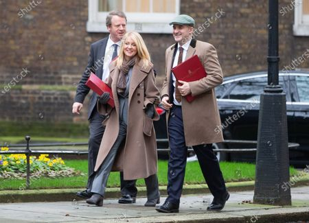 Alister Jack, Secretary of State for Scotland, Esther McVey, Minister of State for Housing, and Jake Berry, Minister of State (Minister for the Northern Powerhouse and Local Growth), arrive for the Cabinet meeting in Downing Street.