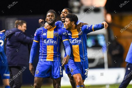 Stock Photo of 14th January 2020, Greenhous Meadow, Shrewsbury, England; Emirates FA Cup, Shrewsbury Town v Bristol City :Aaron Pierre (02) of Shrewsbury Town with team mates after scoring.Credit: Gareth Dalley/News Images