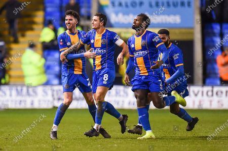 Stock Image of 14th January 2020, Greenhous Meadow, Shrewsbury, England; Emirates FA Cup, Shrewsbury Town v Bristol City :Goalscorer Aaron Pierre (02) of Shrewsbury Town celebrates with fellow team mates Oliver Norburn (08) of Shrewsbury Town after scoring late to give Shrewsbury the leadCredit: Gareth Dalley/News Images