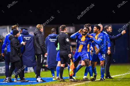 14th January 2020, Greenhous Meadow, Shrewsbury, England; Emirates FA Cup, Shrewsbury Town v Bristol City :Aaron Pierre (02) of Shrewsbury Town celebrates with Sam Ricketts Manager of Shrewsbury Town celebrating in the backgroundCredit: Gareth Dalley/News Images
