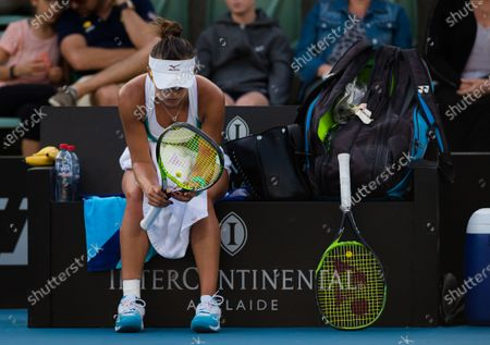 Arina Rodionova of Australia in action during the second round match at the 2020 Adelaide International WTA Premier tennis tournament